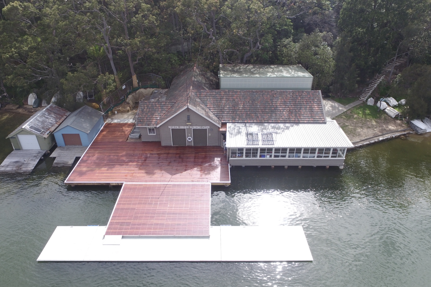 The new pontoon at the North Shore Rowing Club